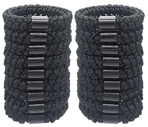 Hollihi 20 grands élastiques pour cheveux - Pour cheveux épais, queues de cheval - Extensibles - Ficelle tissée - Pour femme - Noirs