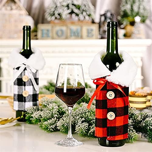 KaKaDz Bolsas de Botella de Vino de Navidad, 2PCS Decoración navideña Solapa imitación de Lino Impreso Bolsa de Botella de Vino Tinto para decoración del hogar