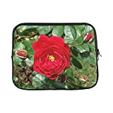 Design Custom Button Rose Flower Rose Bloom Red India Garden Sleeve Soft Laptop Case Bag Pouch Skin for MacBook Air 11'(2 Sides)