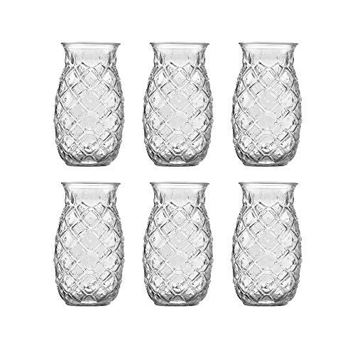 Vaso Tiki Pineapple de Libbey - 510 ml/51 cl - 6 unidades – diseño gracioso - apto para lavado en lavavajillas – alta calidad