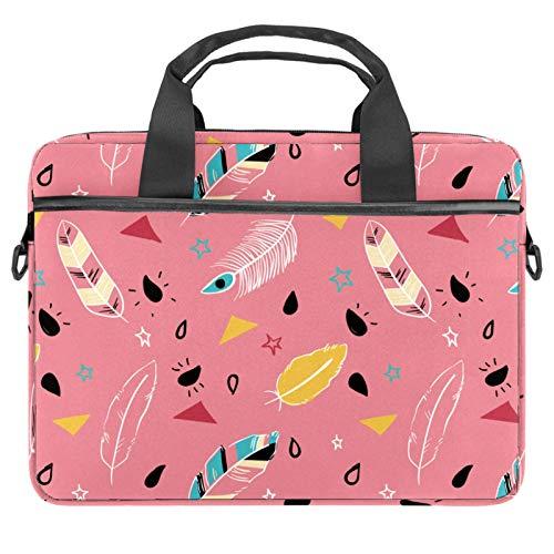 Bolso bandolera para portátil de 14,5 pulgadas, color rosa, estilo bohemio, con plumas, estilo hippie, bolso de hombro, bolso de mano, para mujeres y hombres
