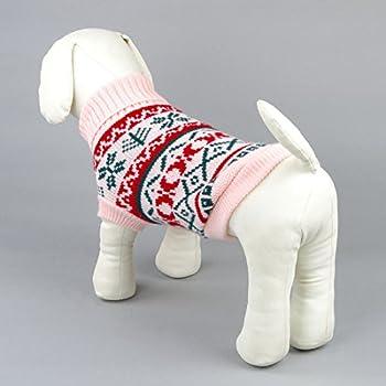 Tineer Manteau de Tricot de Flocon de Neige de Chien d'animal familier, Chiot Chat Pull-Overs Sweater Jacket Hiver Noël vêtements Chauds (XXL, Rose)