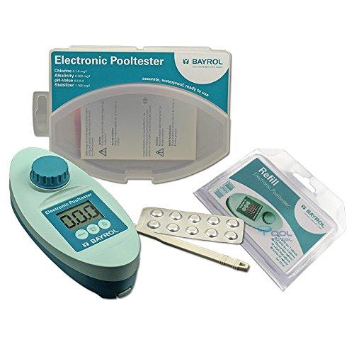 Set ahorro–Bayrol Electronic Pool tester + Refill con 60Pastillas–electrónico Pool tester para medición de cloro y pH–Pool–Medidor de agua para los exigentes Privada de piscina y Whirlpool Operadores