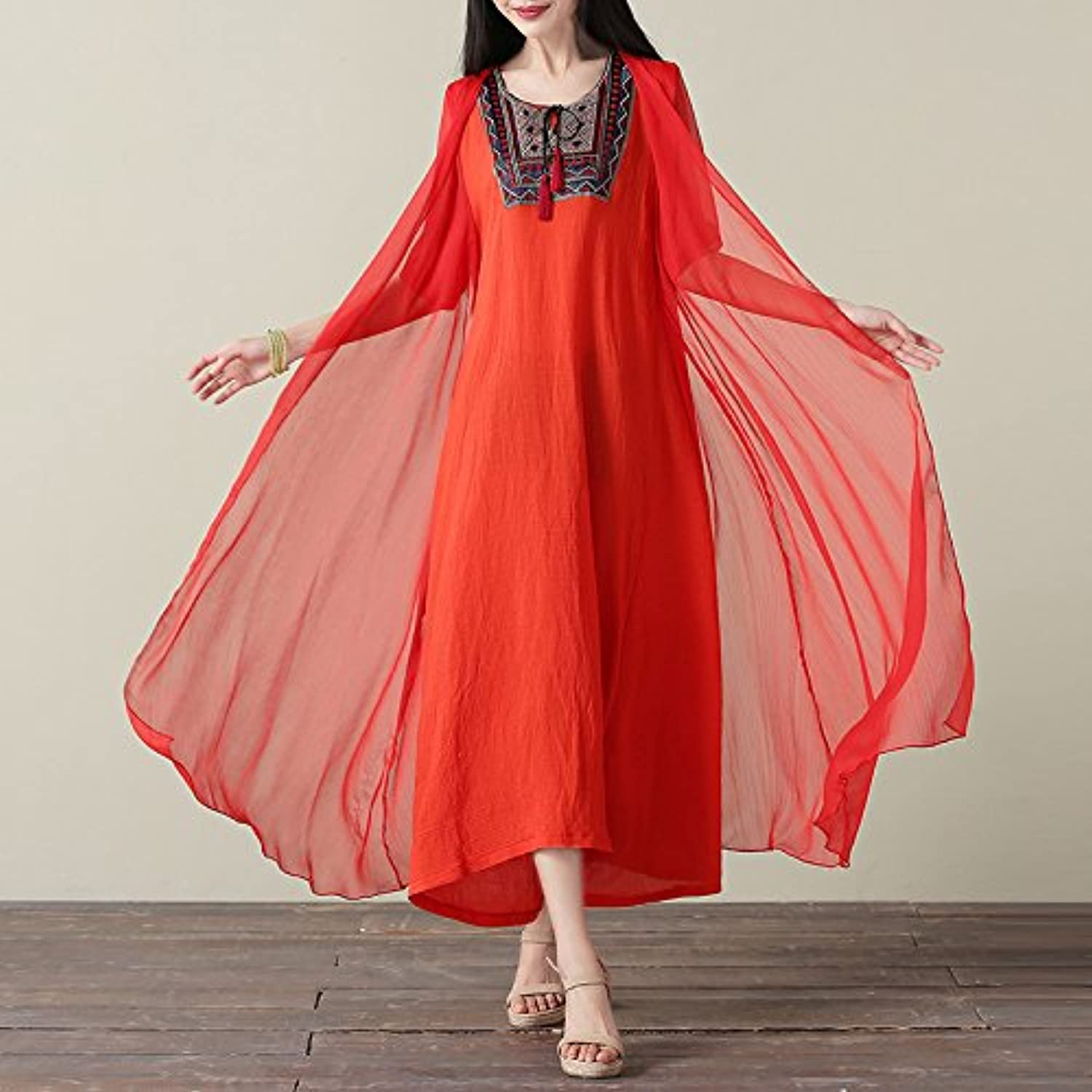 XIURONG Loose Cotton Short Sleeved Dress Embroidered Skirt