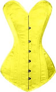 Details about  /Women/'s Alpine Yellow Satin Bustier Steampunk Waist Training Overbust Corset Top