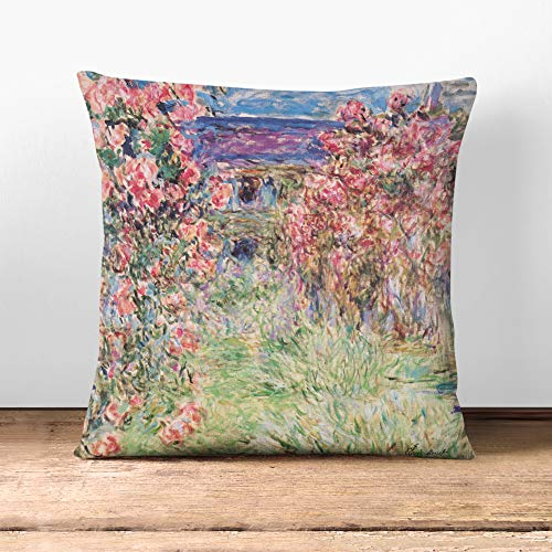 Big Box Art Cushion and Cover - Claude Monet Rose House - Single Square Throw Pillow - Soft Faux Suede Material - Stone Rear - 40x40 cm
