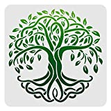 FINGERINSPIRE Plantilla de decoración de árbol de la vida, 30 x 30 cm, de plástico, para dibujo de árbol, plantillas cuadradas reutilizables para pintar sobre madera, piso, pared y azulejos