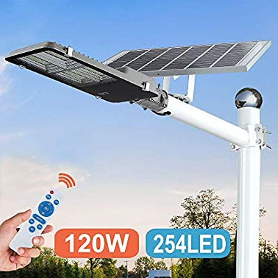 120W LED Solar Street Lights Outdoor Lamp, Dusk to Dawn Pole Light with Remote Control, Waterproof, Ideal for Parking Lot, Yard, Garage and Garden (Neutral White)