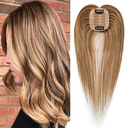 Topper Capelli Veri Donna Extension con Clip 15cm Fascia Unica 100% Remy Human Hair #4P27 Marrone Medio & Biondo Scuro Donna Toupet 6×9cm 15g/Set