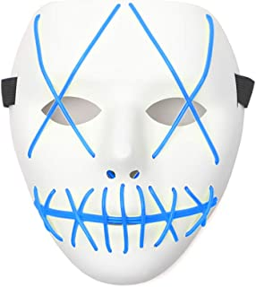 Aosida Sans Maschera Halloween Resina morbida Cranio Cappuccio pieno Casco Maschera Incandescente Occhi neri blu Occhio adulto Bambino Gioco Fancy Scary Ball Masque Costume Cosplay Accessori fai da te