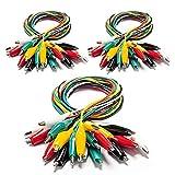 KAIWEETS Sondas de Pinzas Cocodrilo, 30 Piezas de Cable de Prueba de Pinzas Cocodrilo, Juego de Cable de Conexión de Doble Final para Medición Electrica de Laboratorio y Trabajo de Bricolaje-5 colores