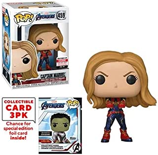 Funko Pop! Marvel Avengers Captain Marvel (Endgame) with Collector Cards Entertainment Earth Exclusive