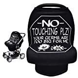 Car Seat Covers for Babies, Metplus Infant Carseat Canopy Nursing Breastfeeding Cover, Stretchy Carrier Cover for Stroller High Chair Shopping Cart, Newborn Boys Girls Shower Gift - No Touching Sign