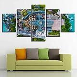 QuEinMKn Lienzo HD Impresiones Carteles decoración del hogar 5 Piezas Pinturas de Mont Saint Michel imágenes de paisajes religiosos Modula Arte de Pared sin Marco