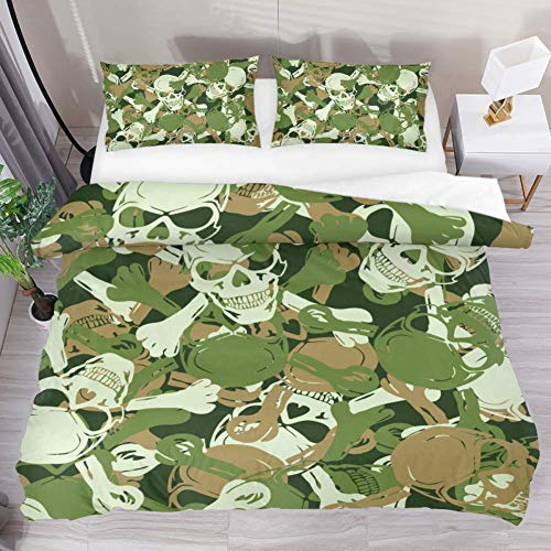 Duvet Cover Set Skull Camouflage Pattern Comforter Bedding Sets Soft 3 Piece Extra Long Twin Size with 2 Pillow Shams Hypoallergenic Soft and Comfortable Zipper