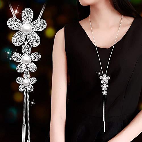 RKWEI Collar Suéter Collares Largos Mujeres Moda Colgante Vintage Collier Gargantilla Cesta Perla Simulada Colgante Collar De Cadena Colgante Collar
