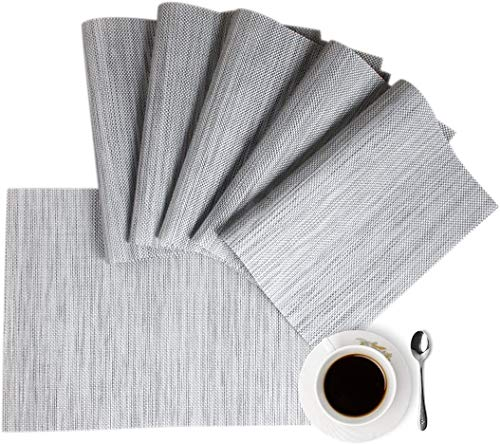 Placemats Placemats for Dining Table Gray Table Mats Set of 6 Easy to Clean Wipeable Washable Modern Outdoor Placemats for Dining Kitchen Table Indoor Decorations