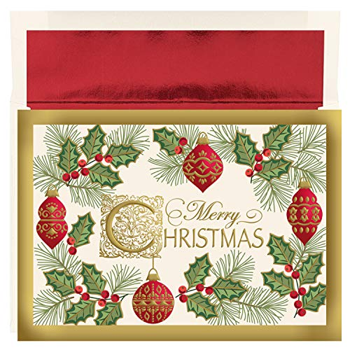 Masterpiece Studios Holiday Collection 16-Count Boxed Embossed Christmas Cards with Foil-Lined Envelopes, 7.8' x 5.6', Antique Christmas