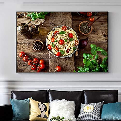 Rahmenlose Malerei Moderne Küche Küche Poster chinesische Küche Tomaten Nudel Wandkunst Bild Dekoration hdCGQ8236 50X90cm