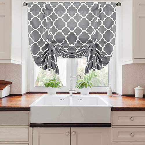 Tie Up Curtains for Windows, Morocco Printed Tie Up Roman Blinds Blackout Curtain Rod Pocket Adjustable Tie Up Roman Shade for Bedroom Living Room Kitchen Small Window,1 panel, 42'W x 63'L (Dark Gray)