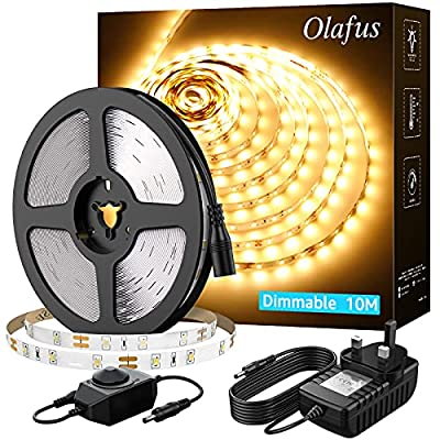 Olafus LED Strip Light Warm White 10M 3000k, 32.8FT Dimmable 600 LED Strip Lighting with Power Adapter, 12V Ambient Light Strip for Indoor Bedroom, Kitchen, Cabinet, Mirror, Party Decor