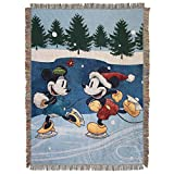 Disney's Mickey and Minnie Mouse, 'Winter Skate' Woven Tapestry Throw Blanket, 48' x 60', Multi Color