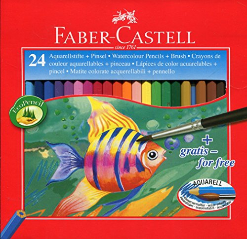 Faber-Castell 114425 - Estuche de 24 ecolápices de color acuarelable, 1 pincel
