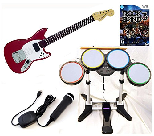 Nintendo Wii U and Wii ROCK BAND 3 Game Set with Wireless PRO Mustang Guitar Drums kit microphone
