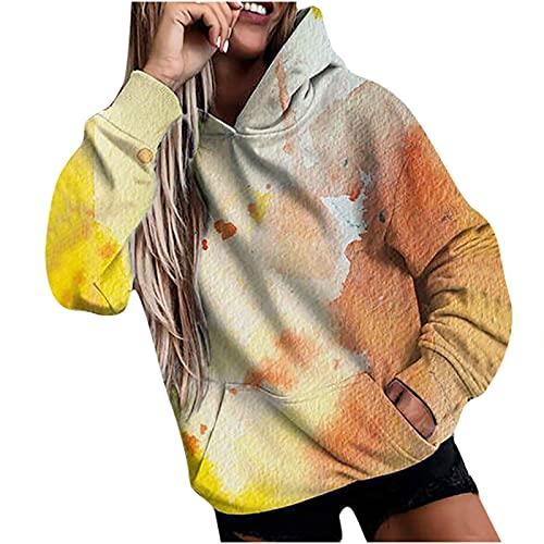 Sudadera con capucha para mujer, de manga larga, para otoño e invierno, con capucha, de gran tamaño, con bolsillos para fiestas, viajes, uso diario, amarillo, S
