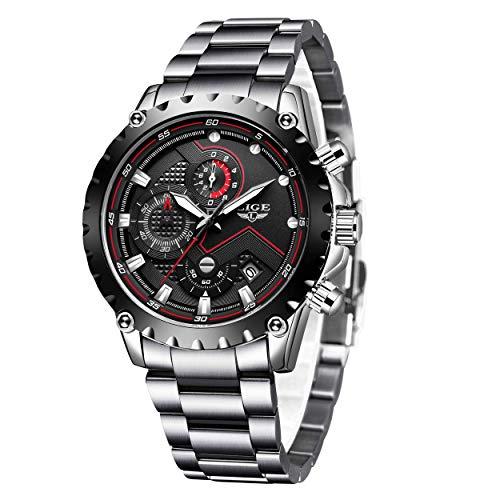 Uhren für Herren,LIGE Edelstahl Chronograph Wasserdicht Schwarz Zifferblatt Datum Business Casual Analog Quarz Uhr