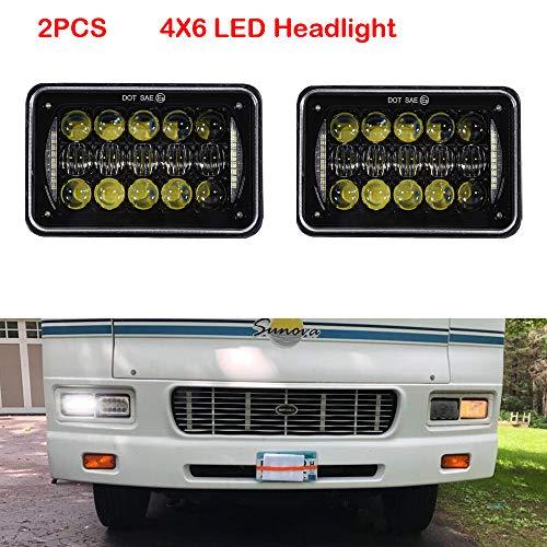SXMA 48 Watt 4x6 zoll 5D LED Scheinwerfer Rechteckiger Scheinwerfer Ersatz mit DRL DOT Genehmigt LED Arbeitslicht Schwarz LED6448 (2 stücke)