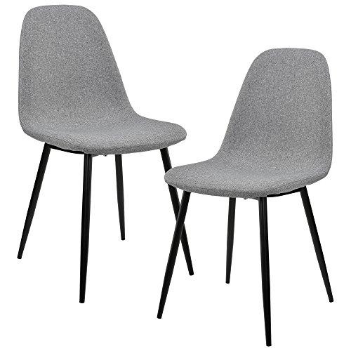 [en.casa] Set de 2 sillas de Comedor - 86 x 46cm - Tela Gris