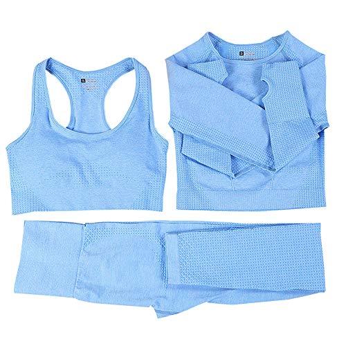 Conjunto de yoga sin costuras para mujer, 3 piezas, ropa de gimnasio, ropa de manga larga, pantalones de entrenamiento
