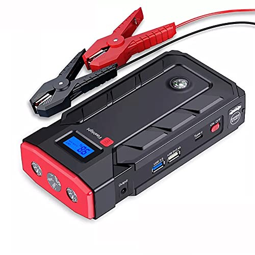 KaiLangDe Car Jump Starter Emergency 2000A 20000mAh 12V Battery Booster Carpeta Inteligente Portátil Herramienta eléctrica para Exteriores 8.0L Gas 5.0L Motor Diesel Linterna LED Cargador USB
