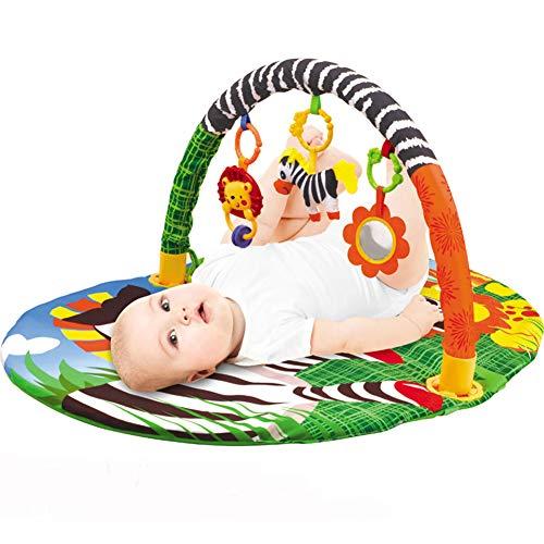 STKASE Manta de Juego para Bebé Alfombra con Tubo de Plastico para Colgar Juguete Extraíble Plegable para Niño Colorido E Interactivo Alfombras De Juego Y Gimnasio para Bebés, Regalo Bebé