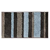 iDesign Stripz Microfiber Accent Bath Mat, Shower Rug for Master, Guest, Kids' Bathroom, Entryway, 21' x 34', Mocha and Gray,18910