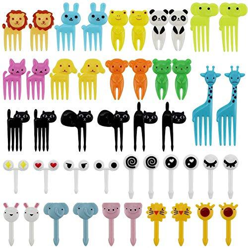 Set di 46 forchette per frutta per bambini, simpatiche decorazioni animali, mini stuzzicadenti per bambini, spuntini, forchette da frutta per torte, dessert, accessori per feste