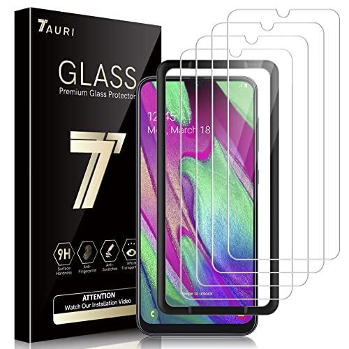 TAURI 4 Stück Schutzfolie Kompatibel Mit Samsung Galaxy A40 Panzerglas Mit Positionierhilfe 9H Festigkeit Panzerglasfolie Blasenfrei Kratzfest 2.5D Rand HD Klar Bildschirmschutzfolie