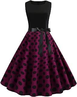 Women Vintage 1950s Retro Sleeveless O Neck Print Evening Party Prom Swing Dress