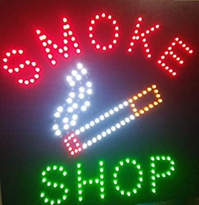 CHENXI Square Led Smoke Shop/Ice Cream Shop/Jewelry Store Open Neon Signs of Business Store Led Sign 48 X 48 CM
