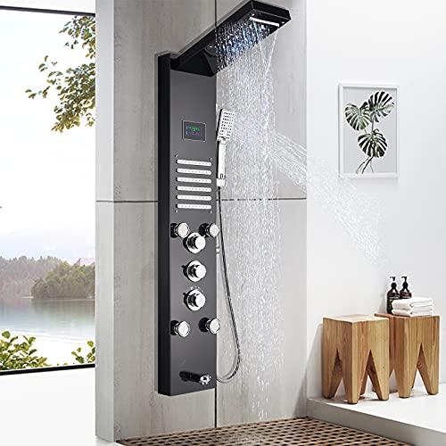 Onyzpily Duschpaneel Edelstahl Schwarz LED Duschsäule Duscharmatur Duschsystem Regendusche Kopfbrause Handbrause Armatur Duschset 2xMassagedüsen