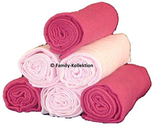 Family-Kollektion 6er Pack Mullwindeln bunt I hautfreundliches & angenehm weiches Schmuse-Tuch I Spucktücher Baby aus 100% Baumwolle I 6 Stück Baumwoll-Tücher 70 x 80 cm (Rosa/Bordeaux)