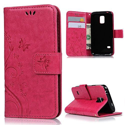 MAXFE.CO Lederhülle Leder Tasche Case Cover für Samsung Galaxy S5 Mini Hülle PU Schutz Etui Schale Rose rot Muster Design Backcover Wallet mit Standfunktion und Magnetverschluß Etui Flip Case