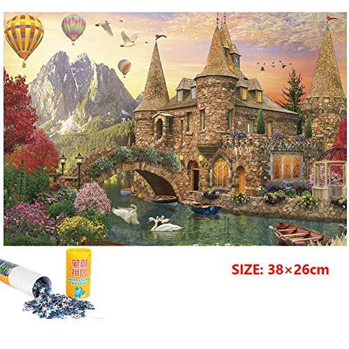 Puzzle para adultos Adulto 1000 óleo del paisaje de la tarjeta azul Piezas Mini Rompecabezas Castillo cisne Papel Pintura descompresión juguete Puzzle (38 × 26 cm) Juegos familiares