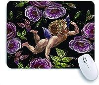 ECOMAOMI 可愛いマウスパッド 刺繡の天使とピンクのバラの花 滑り止めゴムバッキングマウスパッドノートブックコンピュータマウスマット