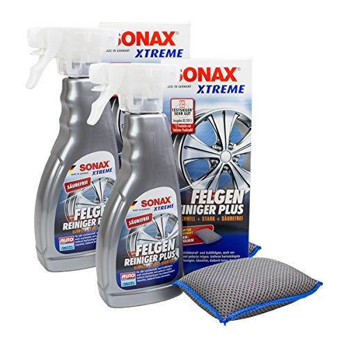 SONAX 2X 02302000 Xtreme FelgenReiniger Plus Säurefrei + Schwamm 500ml