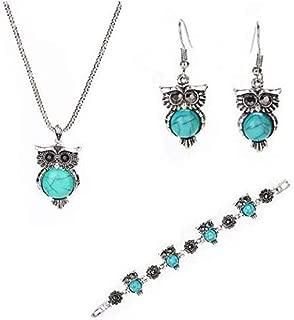 Girls Vintage Owl Jewelry Sets Silver Retro Turquoise Gemstone Owl Pendant Necklace Drop Earrings Charm Bracelet Set