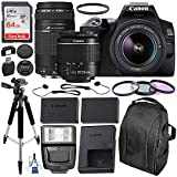 Canon EOS 250D (Rebel SL3) DSLR Camera with 18-55mm & 75-300mm Canon Lenses & Essential Accessory Bundle – Includes: SanDisk Ultra 64GB SDXC Memory Card, Extended Life Spare Battery & More