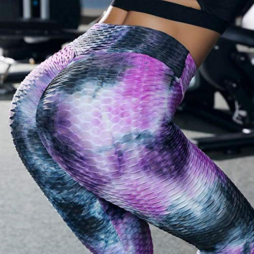 ArcherWlh Leggings Sexy,Amazon European and American Ink Jacquard Bubble Bubble Yoga Pants Slim Hips High Waist Sports Fitness Leggings Women-Star Purple_L
