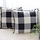 CHICHIC Set of 2 Throw Pillow Covers Fall Pillow Covers 18 x 18 Inch Buffalo Check Plaid Cushion Case Farmhouse Retro Decorative Square Pillowcase for Fall Decor Bed Sofa Couch Chair, Black and White